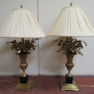 Vintage Antique Pair of Brass Bouquet of Roses Table Lamps – $900 for the pair
