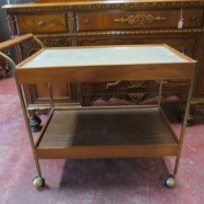 Vintage Mid Century Modern 2 Tier Walnut Bar Cart with Hotray Top – $150