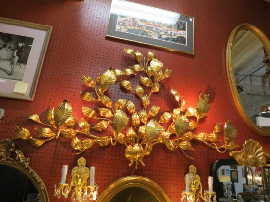 Vintage Antique Large 8 Arm Gilded Metal Leaves Wall Sconce – $495