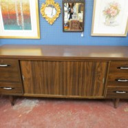 SALE!  Vintage Mid Century Modern Dark Walnut Credenza With Sliding Doors – $250