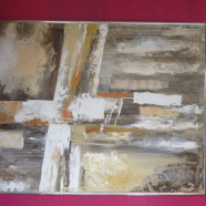Vintage Mid Century Modern Large Abstract Oil Painting – $695