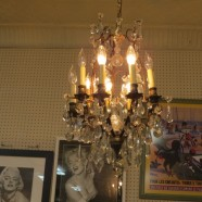 Vintage antique French style bronzed iron and crystal chandelier – $750
