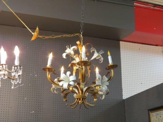 Vintage Mid Century Modern Italian 5 Arm Gilt Metal Lily Chandelier – $445