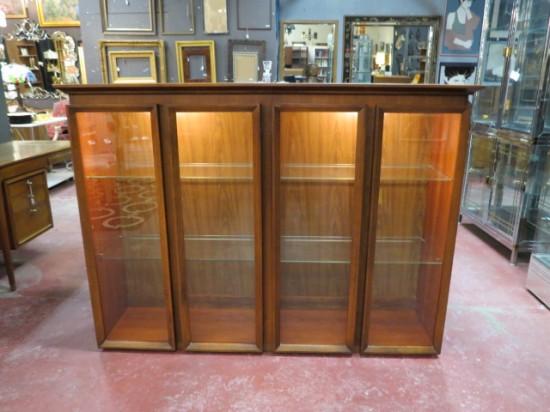 Vintage Mid Century Modern Walnut Glass Door Display Cabinet – $395