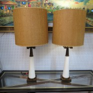 SALE! Vintage Mid Century Modern Pair of Stiffle Lamps and Shades – $450 for the pair