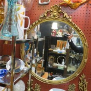 Vintage Antique Round Gold Mirror With Gesso Carvings – $125