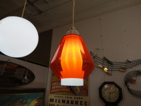 Vintage Mid Century Modern Orange Glass Pendant Light – $175