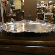 Vintage Antique Large Oval Silver Plate Footed Tray – $240