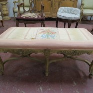 Vintage Antique French Louis XV Carved Oak Bench c. 1900 – $195