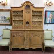 Vintage Antique Carved Oak Large French Louis XV 2pc Cabinet – $995