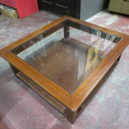 Vintage Square Mahogany 2 Tier Coffee Table/Side Table with Glass Top – $195
