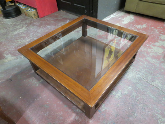Square Coffee Table Glass Top.Vintage Square Mahogany 2 Tier Coffee Table Side Table With Glass