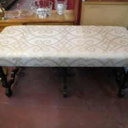 Vintage Antique Tudor Revival Walnut Bench – $475