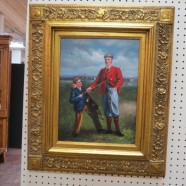 Vintage 1900s Golfer and Caddy Oil Painting – $65