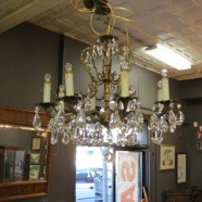 Vintage Antique Brass And Crystal 8 Light Chandelier c. 1940 – $475