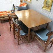 SALE! Vintage Mid Century Modern Mahogany Dining Table and 4 Chairs – $595 for the set