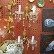 Vintage Antique Pair of Glass and Brass 2 Arm Wall Sconces – $265