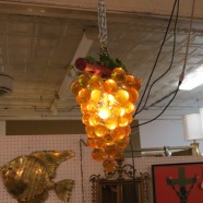 Vintage Mid Century Modern Glass Grapes Amber Swag Chandelier – $145