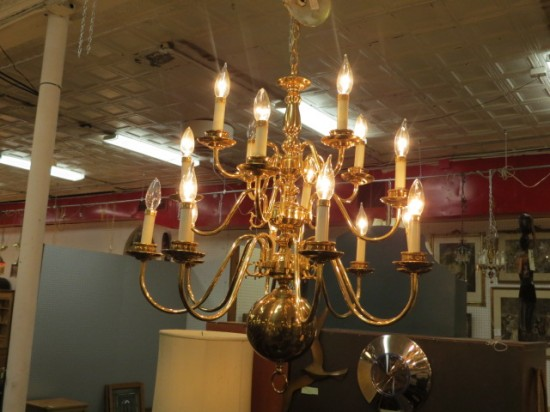 Vintage Antique Brass 16 Arm Chandelier – $139