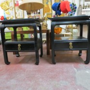 Vintage Mid Century Modern Pair of Chinese Style Black Lacquer End Tables – $250