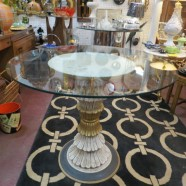 Vintage Antique Carved Wood Painted Center Table With Glass Top – $545