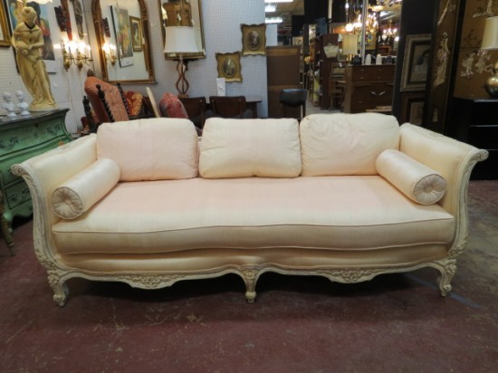 Vintage Antique French Style Pink Silk Carved Sofa By Interior Crafts – $595