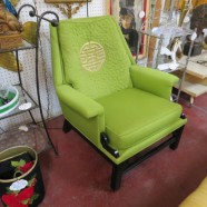 Vintage Mid Century Modern Lime Green Oriental Style Lounge Chair – $175