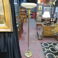 Vintage Antique Brass Torchiere Floor Lamp – $450