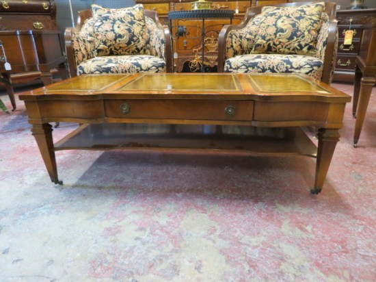 Vintage Antique Mahogany Leather Top Coffee Table – $295