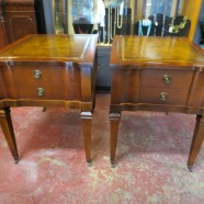 Vintage Antique Pair of Mahogany Leather Top Side Tables/Nightstands – $295 for the pair