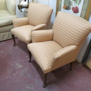 Vintage Antique Pair of French Style Tweed Armchairs – $400