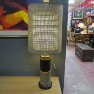 Vintage Mid Century Modern Caned Double Shade Lamp – $125