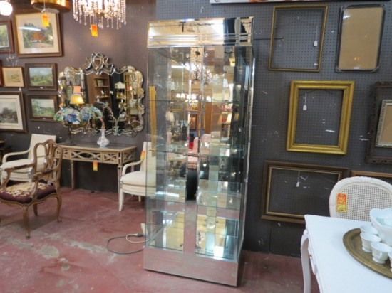 Vintage Mid-Century Modern Style Glass and Mirror Vitrine Display Case – $495