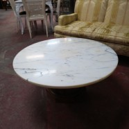 Vintage Mid Century Modern Round Marble Top Coffee Table – $225