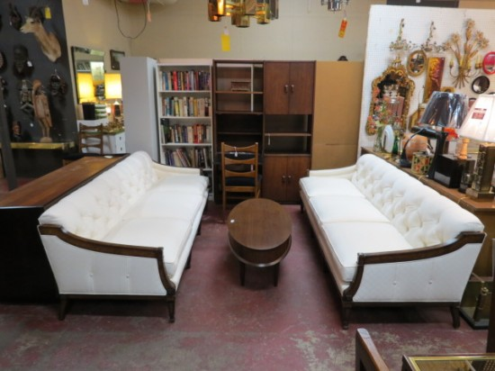 Vintage Mid Century Modern Pair Of White Tufted Sofas – $695 each