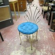Vintage Mid Century Modern Brass Vanity Chair – $40