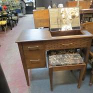 Vintage Mid Century Modern Walnut Vanity/Desk and Stool – $219