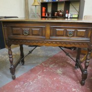 Vintage Antique Walnut 2 Drawer Jacobean Console Table/Server – $325