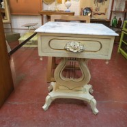 Vintage Antique White Painted Lyre Side Table/Nightstand with Marble Top – $150