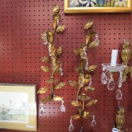 Vintage Antique Pair of Gilt Metal and Crystal Candle Wall Sconces – $145 for the pair