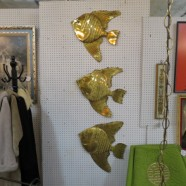 Vintage Mid Century Modern Set of 3 Brass Fish Wall Sculptures – $35