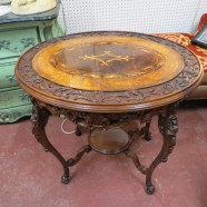 Vintage Antique French Style Carved and Inlaid Walnut/Maple Side Table – $340