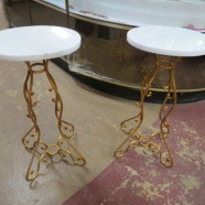 Vintage Antique Pair of Gold Metal Pedestals with Marble Tops – $475 for the pair