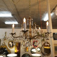 Vintage Antique Brass and Crystal 5 Arm Chandelier – $425