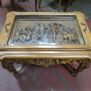 Vintage Antique Carved Walnut Tea Table/Coffee Table – $400