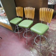 Vintage Mid Century Modern Set of 3 Wood Back Bar Stools – $275 for the set