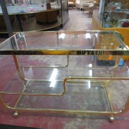 Vintage Mid Century Modern Milo Baughman Brass Glass Bar Cart/Server – $1250