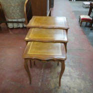 Vintage Antique Set of 3 Walnut Leather Top Nesting Tables – $135 for the set
