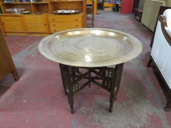 Vintage Antique Moroccan Brass Tray Coffee Table/Side Table – $445