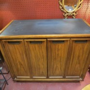 Vintage Mid Century Modern Fruitwood 2 Door Server/Bar Cabinet – $445